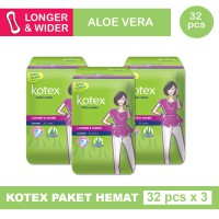 3 PACK KOTEX FRESH LINER LONGER & WIDER ALOE VERA ISI 32