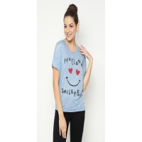 Mobile Power Ladies Back Lace Combination Printing T-shirt - Blue I6824