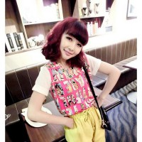 [DJ]  small fresh letters printed chiffon shirt