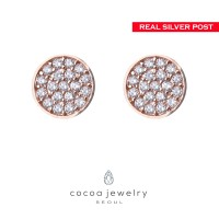 Cocoa Jewelry Anting Gemstones Rose Gold - Silver Pin