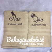 DIskon 2 PCS HANDUK NATURAL 70X140CM + BORDIR GROOM BRIDE + NAMA Premium