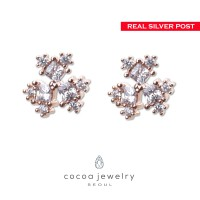 Cocoa Jewelry Anting Tink Rose Gold Color -Silver Pin