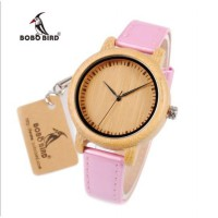 BOBO BIRD WJ08 Bamboo Watches For Women Simple Pink Leather Band