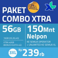 [PPND] Paket COMBO XTRA 3XL 56GB, 30hr, Rp239rb