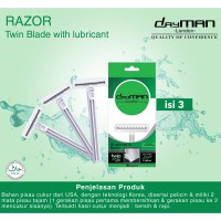Dayman Twin Blade Razor (with lubricant/pelicin) isi 3 pcs