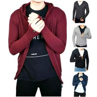 Jaket Ariel Bahan Rajut / Knitting Outer Jacket Sweater Roundhand with Hoodie