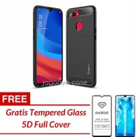 Oppo F9 Case Ipaky Carbon Soft Series GRATIS TEMPERED GLASS - FREE TG HITAM