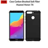 Huawei Honor 7A Case Carbon Brushed Soft Fiber - Hitam