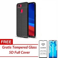 Case Oppo F9 Leather Autofocus Experience GRATIS TEMPERED GLASS - FREE TG HITAM