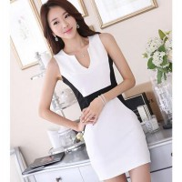 [DJ] New sleeveless stitching sexy package hip deep V-neck Slim ladies dress