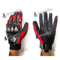 Sarung Tangan NEW MADBIKE MERAH - Batok Stainless METAL [Type MAD-10B]