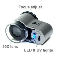 MINI MICROSCOPE LED 50X Plus Ultraviolet /Kaca Pembesar/Senter Batu