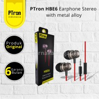 PTron HBE6 Earphone Stereo Metal Stereo Earphone with metal alloy