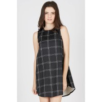 KI Sleeveless Square Midi Dress Black
