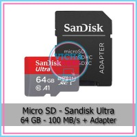 MicroSD - SanDisk 64 GB UHS-I Class 10 A1 with Adapter - C051602