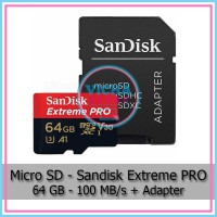 MicroSD - SanDisk Extreme PRO 64 GB Class 10 UHS-1 A1 V30