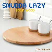 Ikea Snudda Lazy Solid Wood Turning Serving Wood Plate Tatakan Meja Kayu Putar - HHL-148