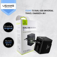 USAMS T2 Dual USB Universal Travel Charger 4 in 1 Hitam