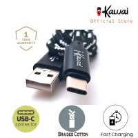 Ikawai Type-C Braided Cotton 100cm Fast Data Cable / Kabel Data Charge