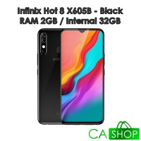 Infinix Hot 8 X605B - 2GB 32GB (2/32) - Black - Baru NEW - Resmi