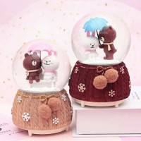 RUMAUMA LINE SNOW BALL BROWN AND CONY | Pajangan Bola Kristal Salju