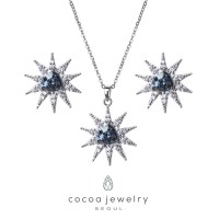 Korea Cocoa Jewelry Clear Star Ice - SET Kalung dan Anting Silver Color - No Box