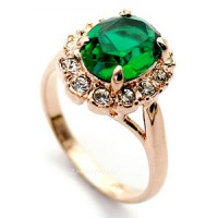 Green Austrian Crystal Gold Plated Ring
