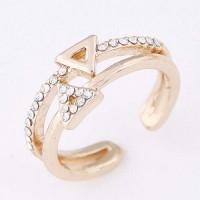 Double Triangle Decorated Open Ring - Gold