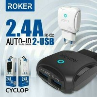 Charger Roker 2 OUTPUT USB 2.4A + Kabel Micro