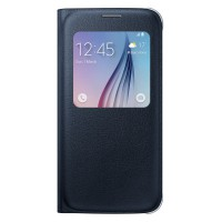 Samsung Galaxy S6 Flat S-View Flip Cover Case Original - Hitam