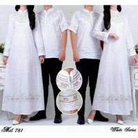 BAJU MUSLIM ELEGAN BORDIR WHITE COUPLE #EBC09