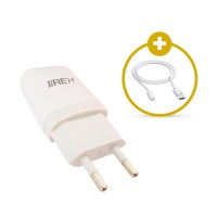 Jireh Charger Adaptor JR-03 Support Android / BB / Other Smartphones + Free Kabel Micro USB 1 Meter
