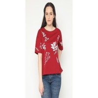 Mobile Power Ladies Screen Printing T-shirt - Maroon AG109