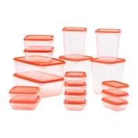 IKEA PRUTA Kotak plastik transparan serbaguna, BPA Free, 1 set isi 17 pieces warna Orange