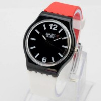 Jam Tangan Pria / Wanita Swatch Colour Rubber Red Black White