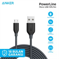 Kabel Charger Anker PowerLine Micro USB Cable 10ft/3m A8134