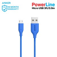 Kabel Charger Anker PowerLine Micro USB Cable 3ft/0.9m A8132 Blue