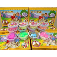 Kinetic Motion Play Sand Set isi 12 Warna warni + Cetakan | Pasir Kinetik