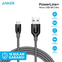Kabel Charger Anker Cable PowerLine+ Micro USB 6ft/1.8m A8143