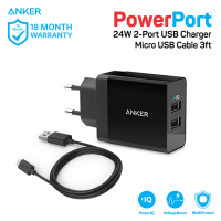 Anker Wall Charger PowerPort 2 & 3ft Micro USB Hitam - B2021L11