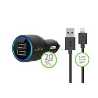 Belkin MIXIT Charger Mobil Dual USB for iPhone, iPod & iPad include Apple Lightning Cable - Hitam