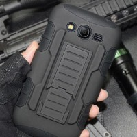 Samsung Galaxy Grand Duos Military Armor Hybrid 3 in 1 Belt Stand Back Cover Case