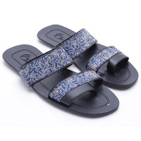 Dr.Kevin Men Sandals Canvas 17182 Blue/Black