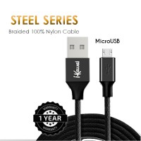 Ikawai MicroUSB Braided Nylon 100cm Kabel Data & Charge V8 For Android