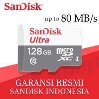 SanDisk Ultra MicroSD 128GB 80MB/s - No Adapter