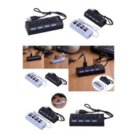USB Hub 4 Ports Portable High Speed USB | On/Off Switch USB Splitter