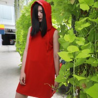 Red-In Hoodie Dress