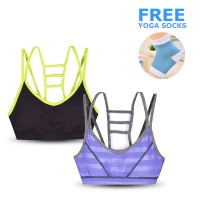 FREE YOGA SOCKS (random color) Ladies Sports Bra - Tali Tangga Style - Available In 3 Colors - Export Quality