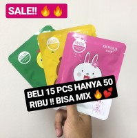 【 PAKET 15 PCS 】ROREC & BIOAQUA ANIMAL FACIAL MASK 100% ORI MIX