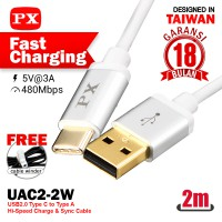 Fast Charging Type A-C 3A Kabel USB&Charger 2m PX UAC2-2W Putih